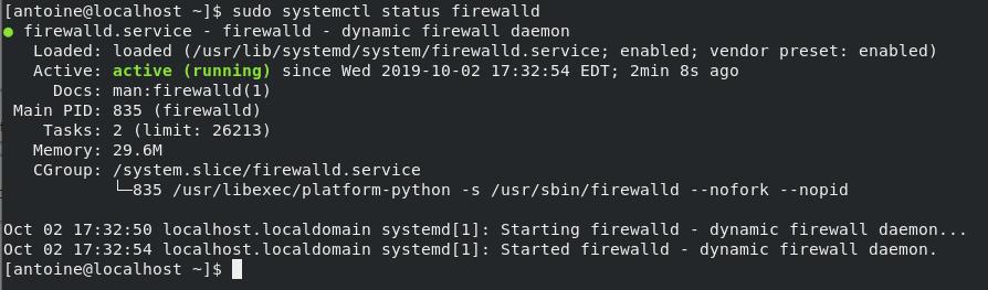 Checking firewall status on CentOS 8