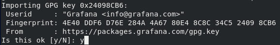 Accepting GPG key from Grafana on CentOS 8