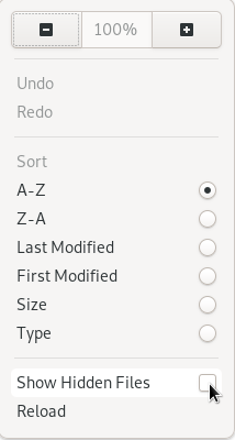 Show Hidden files option in GNOME