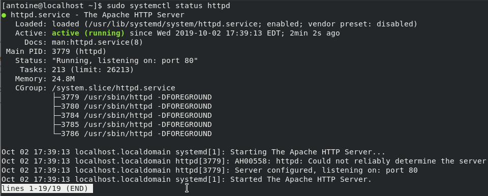 Install Apache on CentOS 8