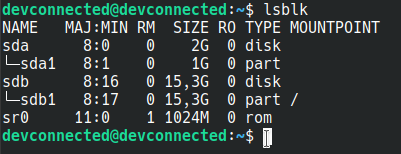 List partitions on Linux using lsblk