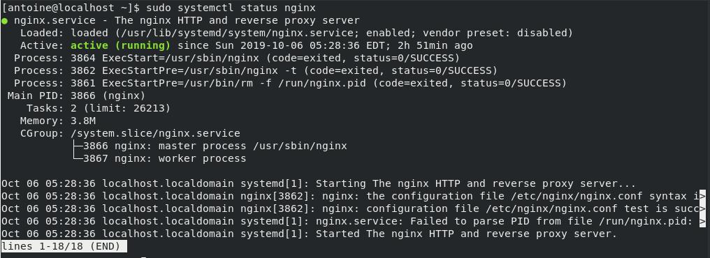 NGINX status on CentOS 8