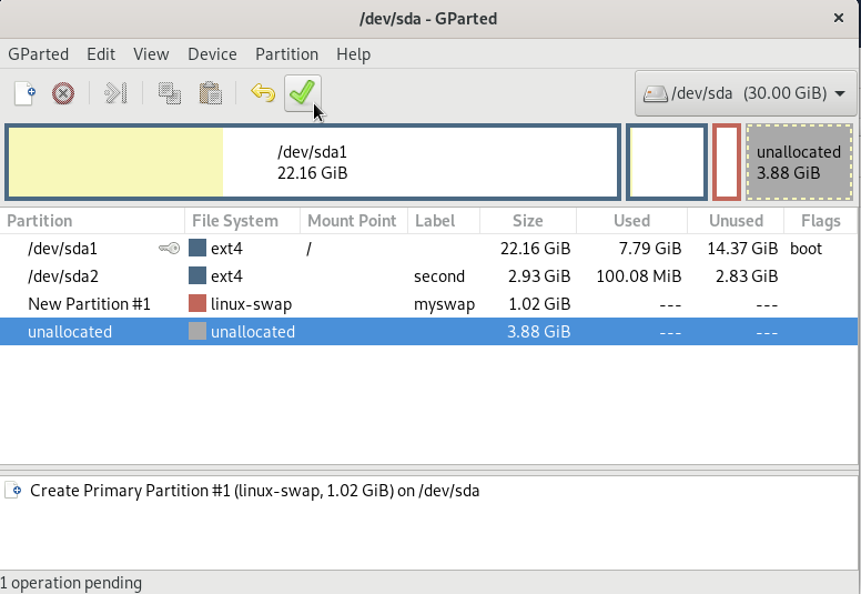 Linux swap partition created on gparted