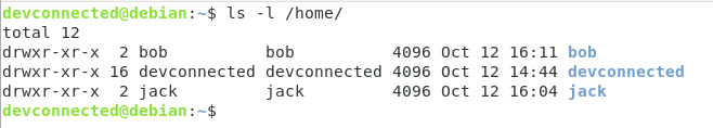Home directory created on Linux