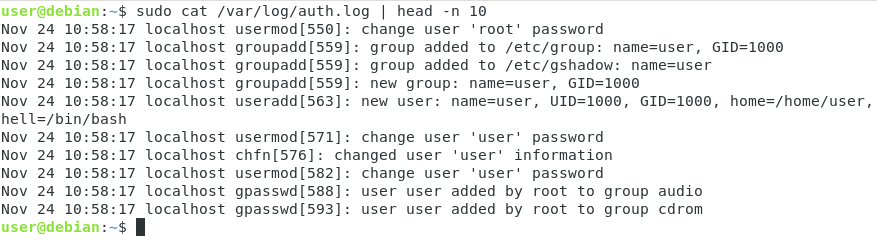 Inspecting auth log files on linux