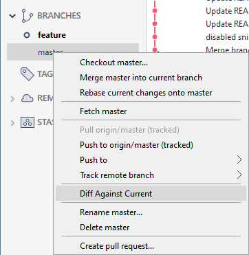 Diff against current in sourcetree