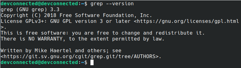 grep version on Linux