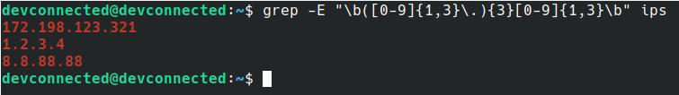 find IP addresses using grep on Linux