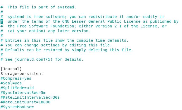 Configuring storage on journald