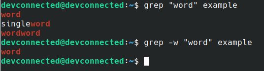 search word using w option grep