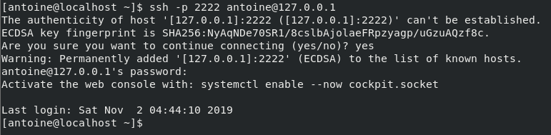 Connecting to SSH server on CentOS 8