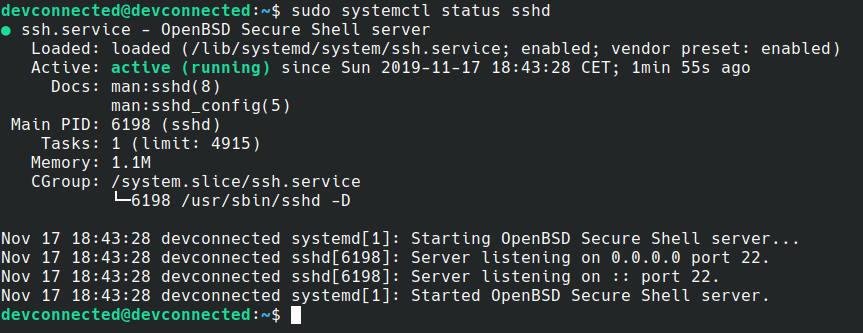 SSH server running on Debian