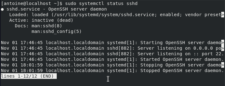 Checking ssh server status on CentOS 8