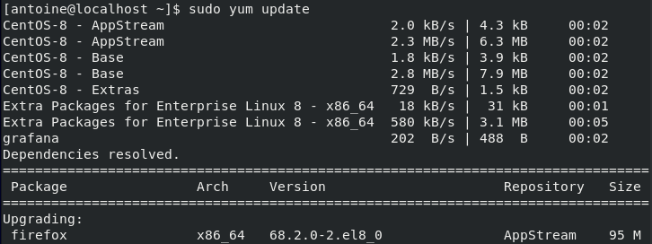 Updating yum packages on CentOS 8