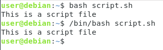 specifying the bash interpreter to run scripts
