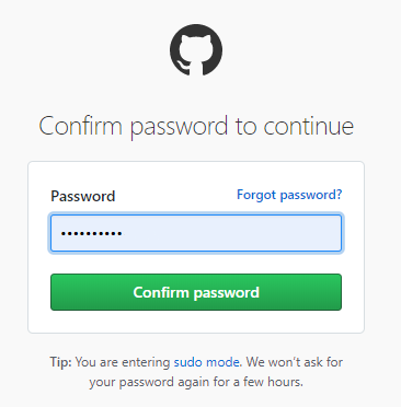 confirm github password