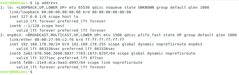 get ip address using ip command