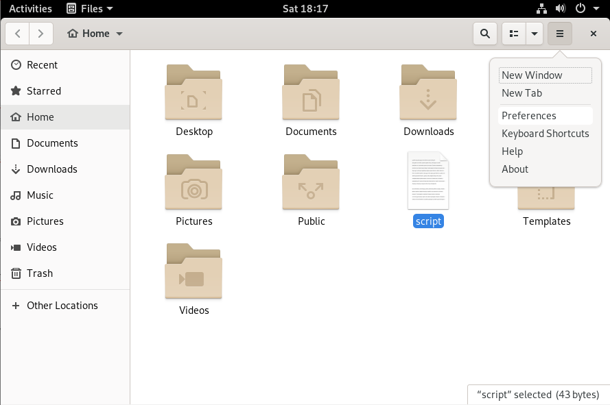 Files preferences in GNOME