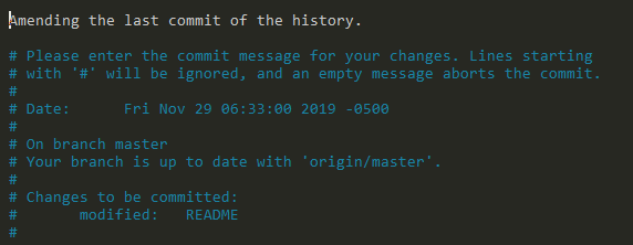 amending last commit of history