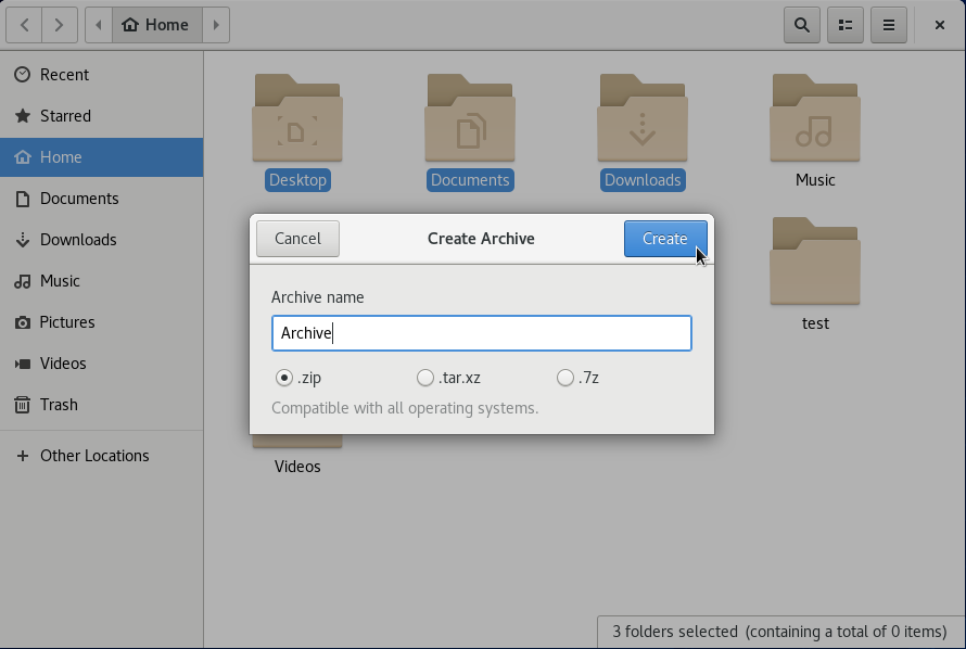 naming your archive on GNOME