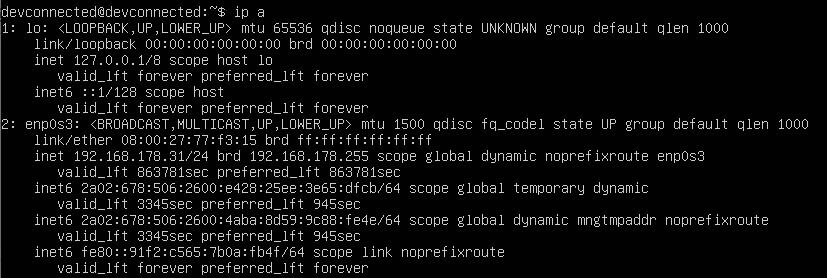 current ip address on linux