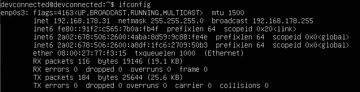 ifconfig command on linux
