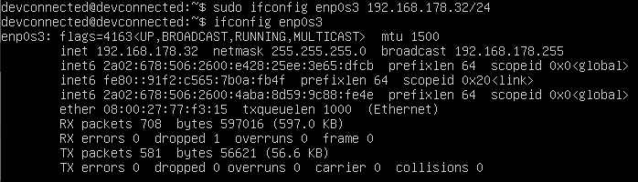 ip address changed with ifconfig on linux