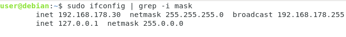 find subnet mask using ifconfig