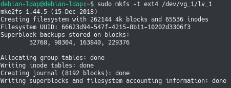 formatting a logical volume using mkfs