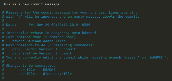Amending commit message on Git