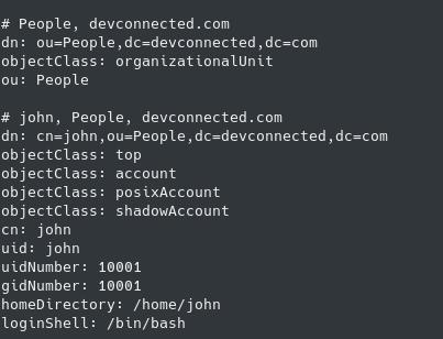 users stored in openldap