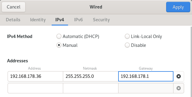 configuring ip address with graphical interface