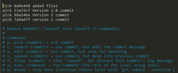 rebase commits on git