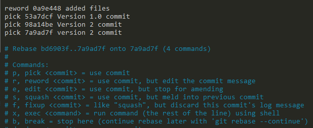 amend commit using reword keyword on git
