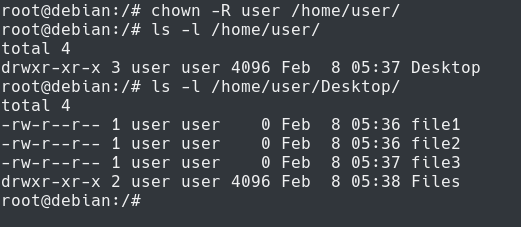chown recursive command on linux
