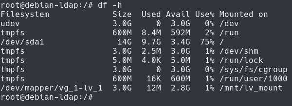 checking size of logical volume on linux