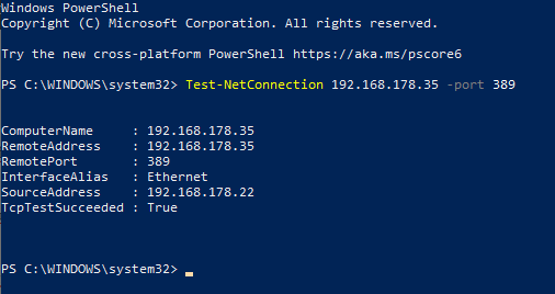 ping port on windows using powershell