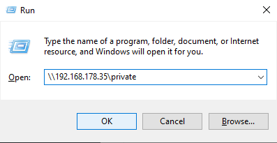 private samba share from windows