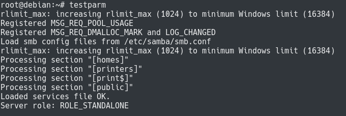 testing samba configuration with testparm