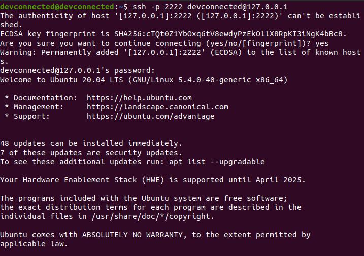 connect ssh ubuntu 20.04