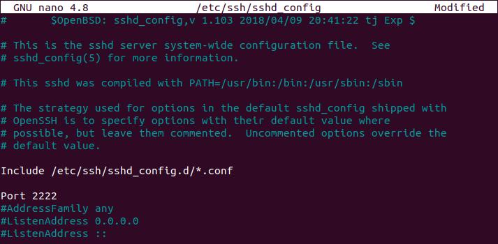 changing default ssh port on ubuntu