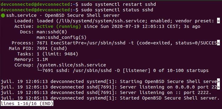 restarting ssh server