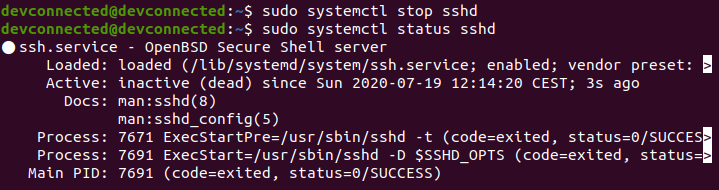disable SSH service on ubuntu 20.04