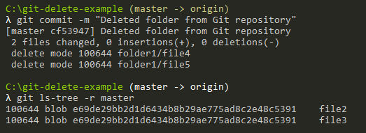 commit changes to delete files recursively