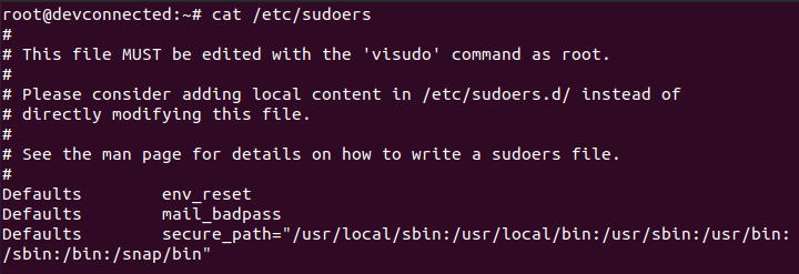 sudoers file on linux