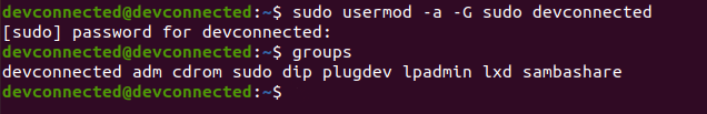 adding a user to sudo using usermod