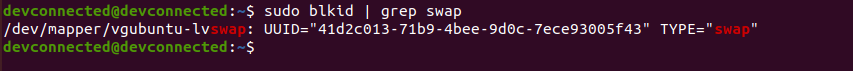 getting the UUID for a swap partition