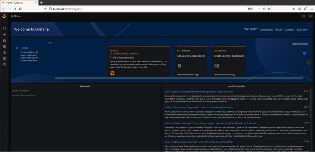 grafana default landing page