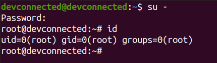 connect to root using su
