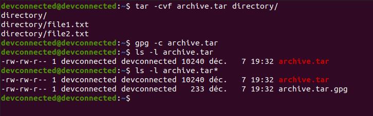 encrypt tar file